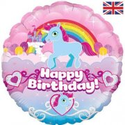Rainbow unicorn birthday folija balons 45 cm