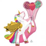 Winged unicorn supershape folija balons 86 cm