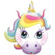 Pastel magical unicorn head folija balons 96 cm