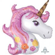Magical unicorn supershape head folija balons 45 cm