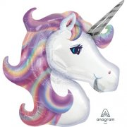 Pastel unicorn supershape head folija balons 45 cm