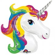 Rainbow unicorn supershape head folija balons 45 cm
